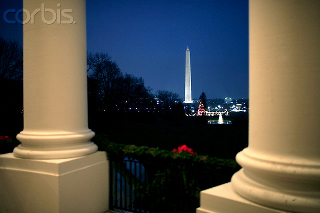 10 Dec 2007, Washington, DC, USA --- A view from from the South Portico Balcony at the White House towards the National Christmas Tree and the Washington Monument.  --- Image by © Brooks Kraft/Corbis