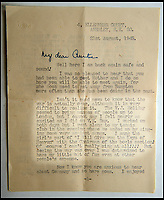 BNPS.co.uk (01202 558833)<br /> Pic: C&amp;T/BNPS<br /> <br /> Brenda's letter to an Aunt describing VJ day when the long conflict finally ended.<br /> <br /> A humble secretary's remarkable first hand archive of some of the most momentous events of WW2 has come to light.<br /> <br /> 'Miss Brenda Hart' worked in the Cabinet Office during the last two years of the war, travelling across the globe with the Allied leaders as the conflict drew to a close.<br /> <br /> Her unique collection of photographs and momentoes of Churchill, Stalin and other prominent Second World War figures have been unearthed after more than 70 years.<br /> <br /> The scrapbooks, which also feature Lord Mountbatten and Vyacheslav Molotov, were collated by Brenda Hart who, in her role as secretary to Churchill's chief of staff General Hastings Ismay, enjoyed incredible access to him and other world leaders.<br /> <br /> She also wrote a series of letters which give fascinating insights, including watching Churchill and Stalin shaking hands at the Bolshoi ballet in 1944, being behind Churchill as he walked out on to the balcony at the Ministry of Health to to wave to some 50,000 Londoners on VE day and even visiting Hitler's bombed out Reich Chancellery at the end of the war.<br /> <br /> This unique first hand account, captured in a collection of photos, passes, documents and letters are being sold at C&amp;T auctioneers on15th March with a &pound;1200 estimate.