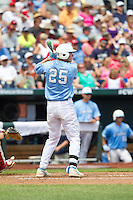 North Carolina Tar Heels first baseman Cody Stubbs #25 bats during Game 3 of the 2013 Men's College World Series between the North Carolina State Wolfpack and North Carolina Tar Heels at TD Ameritrade Park on June 16, 2013 in Omaha, Nebraska. The Wolfpack defeated the Tar Heels 8-1. (Brace Hemmelgarn/Four Seam Images)