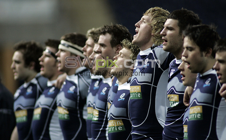 PICTURE BY VAUGHN RIDLEY/SWPIX.COM - Rugby Union - U20 Six Nations - Scotland v England - Falkirk, Scotland - 07/03/08...Copyright - Simon Wilkinson - 07811267706..Scotland's Josh Brown and teammates sing national anthem.