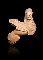 Pentelic marble Ancient Greek Archaic statue of a Sphnix from Spata, Attica. Circa 570 BC , Athens National Archaeological Museum. Cat no 28. Against black<br /> <br /> One of the earliest known Archaic Sphinx statues once a grave stele