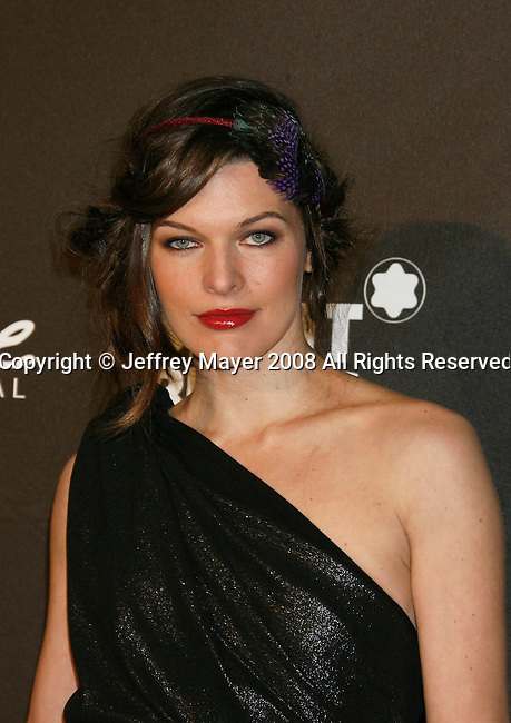 "LOS ANGELES, CA. - February 20: Actress Milla Jovovich arrives at Montblanc ""Signature for Good"" Charity Gala at Paramount Studios on February 20, 2009 in Los Angeles, California."
