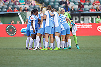 Portland, OR - Saturday August 19, 2017: Dash Team Huddle during a regular season National Women's Soccer League (NWSL) match between the Portland Thorns FC and the Houston Dash at Providence Park.