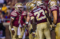 TALLAHASSEE, FLA. 9/5/15-Florida State University's Everett Golson calls a play in the huddle during first half action in the football game against Texas State University at Doak Campbell Stadium in Tallahassee.<br /> <br /> COLIN HACKLEY PHOTO