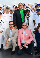 Josh Brolin, Will Smith, and director Barry Sonnenfeld at The Intrepid promoting the film Men In Black III, May 23, 2012. Copyright Kristen Driscoll / Media Punch