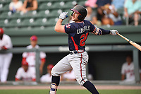 Designated hitter Brett Cumberland (28) of the Rome Braves bats in game one of a doubleheader against the Greenville Drive on Tuesday, May 30, 2017, at Fluor Field at the West End in Greenville, South Carolina. Rome won, 10-7. (Tom Priddy/Four Seam Images)
