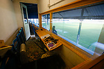 The press box in the Jamie Vardy Stand at Look Local Stadium. Stocksbridge Park Steels v Pickering Town,  Evo-Stik East Division, 17th November 2018. Stocksbridge Park Steels were born from the works team of the local British Steel plant that dominates the town north of Sheffield.<br />