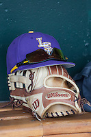 LSU Tigers baseball hat on June 18, 2015 at TD Ameritrade Park in Omaha, Nebraska. (Andrew Woolley/Four Seam Images)