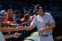 Scottsdale Scorpions Tyler Wade (41), of the New York Yankees organization, signs autographs before a game against the Mesa Solar Sox on October 18, 2016 at Sloan Park in Mesa, Arizona.  Mesa defeated Scottsdale 6-3.  (Mike Janes/Four Seam Images)
