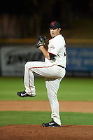 Scottsdale Scorpions pitcher Dan Slania (35) delivers a pitch during an Arizona Fall League game against the Mesa Solar Sox on October 20, 2015 at Scottsdale Stadium in Scottsdale, Arizona.  Mesa defeated Scottsdale 5-4.  (Mike Janes/Four Seam Images)