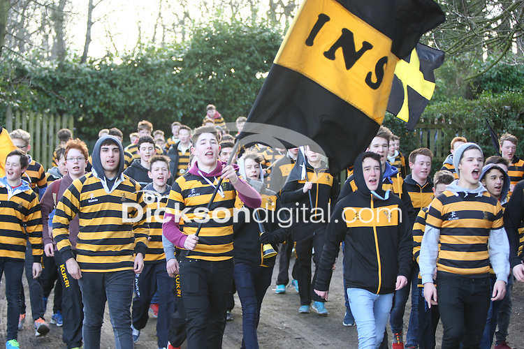 SCHOOLS CUP 2015  | Saturday 7th February 2015<br /> <br /> RBAI supporters during the third round of the 2015 Ulster Schools Cup between RBAI and Regent House at Osborne Park, Belfast.<br /> <br /> Picture credit: John Dickson / DICKSONDIGITAL
