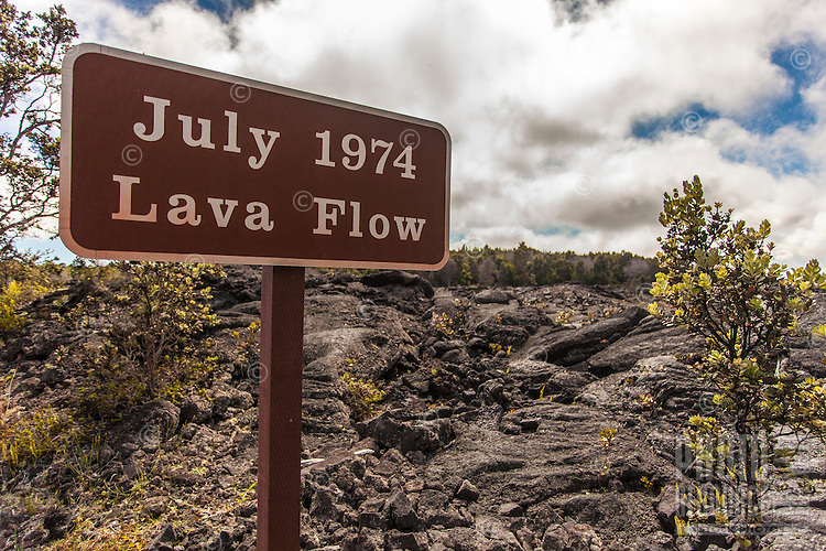 """""""July 1974 Lava Flow"""" sign along Chain of Craters Road in Hawai'i Volcanoes National Park, Big Island."""