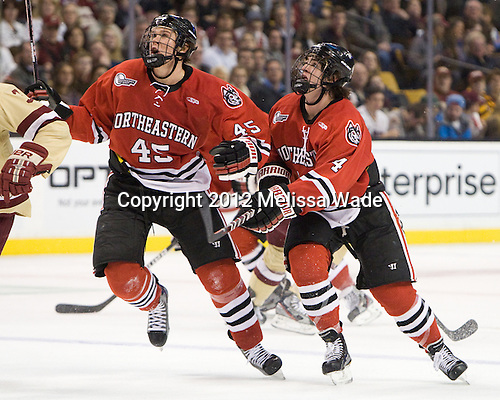 Ludwig Karlsson (Northeastern - 45), Dan Cornell (Northeastern - 4) - The Boston College Eagles defeated the Northeastern University Huskies 7-1 in the opening round of the 2012 Beanpot on Monday, February 6, 2012, at TD Garden in Boston, Massachusetts.