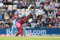 Nicholas Pooran (West Indies) drives Adil Rashid (England) through extra cover during England vs West Indies, ICC World Cup Cricket at the Hampshire Bowl on 14th June 2019