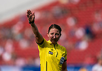 FRISCO, TX - MARCH 11: Danielle Chesky calls a foul during a game between England and Spain at Toyota Stadium on March 11, 2020 in Frisco, Texas.