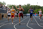 28 MAY 2016: Luke Campbell of Salisbury crosses the finish line of the men's 400 meter hurdles during the Division III Men's and Women's Outdoor Track & Field Championship held at Walston Hoover Stadium on the Wartburg College campus in Waverly, IA. Campbell won the race with a time of 50.52. Conrad Schmidt/NCAA Photos