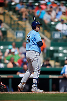 Tampa Bay Rays first baseman Ji-Man Choi (26) at bat during a Grapefruit League Spring Training game against the Baltimore Orioles on March 1, 2019 at Ed Smith Stadium in Sarasota, Florida.  Rays defeated the Orioles 10-5.  (Mike Janes/Four Seam Images)