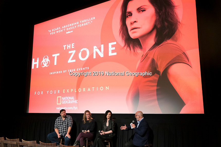 """NEW YORK - MAY 23: Brian Peterson, Kelly Souders and Julianna Margulies attends an FYC event for National Geographic's """"The Hot Zone"""" at Metrograph on May 23, 2019 in New York City. (Photo by Ben Hider/National Geographic/PictureGroup)"""