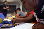 Rural Connections scholar SajHeed McNair, 14, works through a quiz in Mathematical Modeling class during the Center for Talented Youth summer program at Lafayette College in Easton, PA on July 06, 2012. Several students were part of the Rural Connections scholarship program being offered for the first time this year.