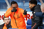 26.12.2019 Rangers v Kilmarnock: Alfredo Morelos laughing and joking with the Kilmarnock backroom staff before the match