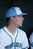 Daytona Tortugas pitcher Nick Howard (29) before a game against the Clearwater Threshers at Radiology Associates Field at Jackie Robinson Ballpark on May 9, 2015 in Daytona, Florida. Clearwater defeated Daytona 7-0. (Robert Gurganus/Four Seam Images)