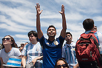 San Francisco, CA - Sunday, July 13, 2014: Argentina fans react to a near miss. Thousands of fans gathered for a public viewing at the Civic Center to watch Germany vs Argentina in the finals of the World Cup.