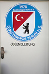 The badge of Turkiyemspor Berlin on display at the club's ground the Willy-Kressmann-Stadion before they played BSC Rehberge in a Berlin Landesliga fixture which they won 3-0. The club was formed in 1978 to represent members of Berlin's large Turkish community and achieved several promotions and local cup wins throughout the first 15 years of their existence. Since then, financial problems have led to successive relegations and they now find themselves in the city's second division.