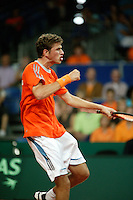 24-9-06,Leiden, Daviscup Netherlands-Tsjech Republic, Robin Haase bejubelt zijn overwinning op  Jan Hernych