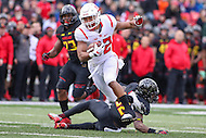 College Park, MD - November 26, 2016: Rutgers Scarlet Knights running back Justin Goodwin (32) breaks a tackle during game between Rutgers and Maryland at  Capital One Field at Maryland Stadium in College Park, MD.  (Photo by Elliott Brown/Media Images International)