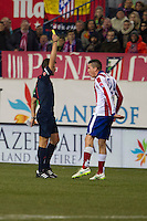 Atletico de Madrid´s Gimenez during 2014-15 Spanish King Cup match between Atletico de Madrid and Barcelona at Vicente Calderon stadium in Madrid, Spain. January 28, 2015. (ALTERPHOTOS/Luis Fernandez) /nortephoto.com<br />