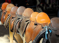 Saddles for sale at Beeston Horse and Pony Show, Cheshire.