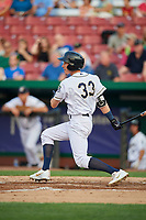 Kane County Cougars third baseman Ryan Grotjohn (33) follows through on a swing during a game against the South Bend Cubs on July 23, 2018 at Northwestern Medicine Field in Geneva, Illinois.  Kane County defeated South Bend 8-5.  (Mike Janes/Four Seam Images)