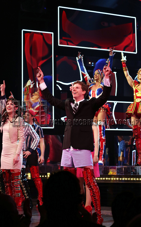 Celina Carvajal & Stark Sands during the Broadway Opening Night Performance Curtain Call for 'Kinky Boots' at the Al Hirschfeld Theatre in New York City on 4/3/2013