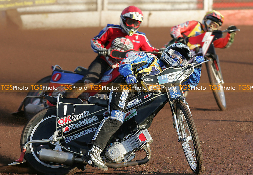 Heat 1 - Nicki Pedersen (Green) of Eastbourne, Adam Shields (Red) of Lakeside and Ryan Fisher (Yellow) of Eastbourne - Lakeside Hammers vs Eastbourne Eagles at The Arena Essex Raceway, Thurrock - 15/06/07 - MANDATORY CREDIT: Rob Newell/TGSPHOTO