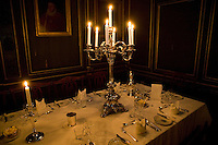 View of the formal dining hall ahead of the evening's candlelit dinner at Magdalene College in Cambridge, United Kingdom, 11 March 2007.