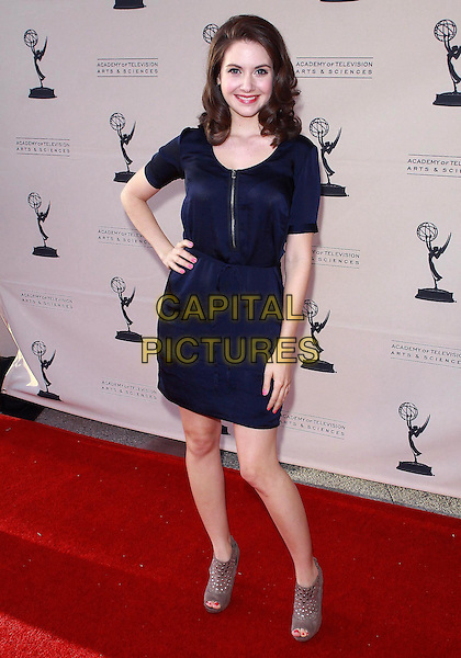 "ALISON BRIE.Television Academy's Diversity Committee Presents Night School With ""Community""   held at Leonard H. Goldenson Theatre, Beverly Hills, California, USA, 7th April 2010.full length dress hand on hip grey gray suede cut out ankle boots booties shooboots peep open toe navy blue zip.CAP/ADM/TC.©T. Conrad/AdMedia/Capital Pictures."