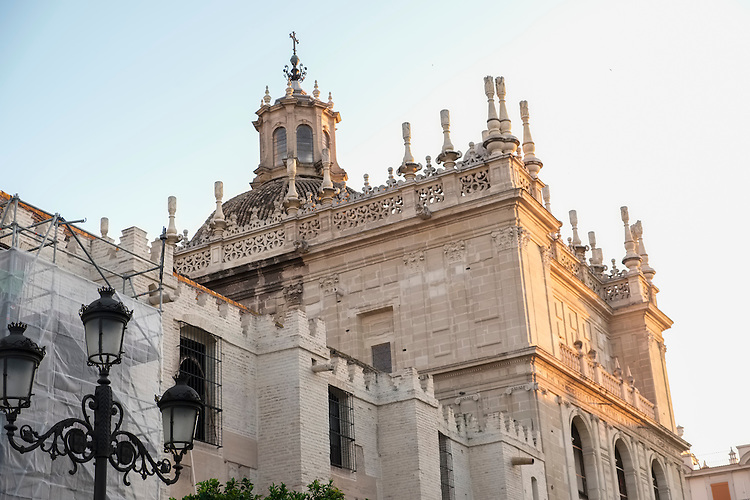 Ornate upper elevations of the Gothic Cathedral of Sevilla.