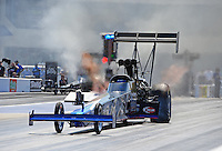 Apr. 13, 2012; Concord, NC, USA: NHRA top fuel dragster driver Pat Dakin during qualifying for the Four Wide Nationals at zMax Dragway. Mandatory Credit: Mark J. Rebilas-