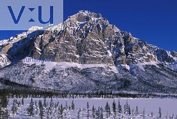 Mt. Dillon, Brooks Range, Alaska in Arctic winter, with frozen tundra pond and boreal forest or taiga.