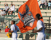 Fans of Crystal Palace Baltimore watch the flag of the Carolina Railhawks during an NASL match at Paul Angelo Russo Stadium in Towson, Maryland on September 18 2010.