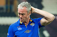 Picture by Allan McKenzie/SWpix.com - 19/04/2018 - Rugby League - Betfred Super League - Hull FC v Leeds Rhinos - KC Stadium, Kingston upon Hull, England - Brian McDermott dejected after his sides loss to Hull FC.