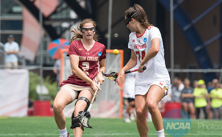 FOXBORO, MA - MAY 28: Julia Braig #24 of the Maryland Terrapins with the ball during the Division I Women's Lacrosse Championship held at Gillette Stadium on May 28, 2017 in Foxboro, Massachusetts. <br /> (Photo by Ben Solomon/NCAA Photos via Getty Images)