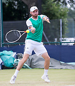 June 15th 2017, Nottingham, England; ATP Aegon Nottingham Open Tennis Tournament day 6;  Forehand from Bjorn Fratangelo of USA who defeated Kenny De Schepper of France in two sets