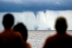Twin waterspouts form off Shell Point Beach in Wakulla County, Florida.<br />