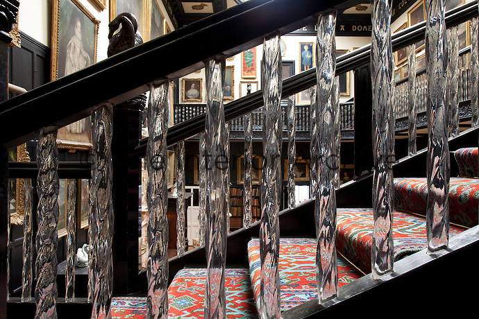The crystal balustrades are a very unusual feature of the staircase hall, and thought to be one of a kind