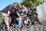 Some of those that took part in the ''Farwell Run'', a round Ireland Bike Run, to raise funds for the Kerry Society of the Prevention of Cruelty to Animals. Pictured at the KSPCA in Tralee on Tuesday were, from left: Adrian Benner (friend of the KSPCA), Bill Holmes (front) (volunteer, KSPCA), Kerrie Ryan (KSPCA), Robert Lee (volunteer, KSPCA) with his dog Timmy and Neill Farwell (KSPCA).