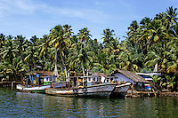 Fishing boats docked at a village wharf, Kerala, India.