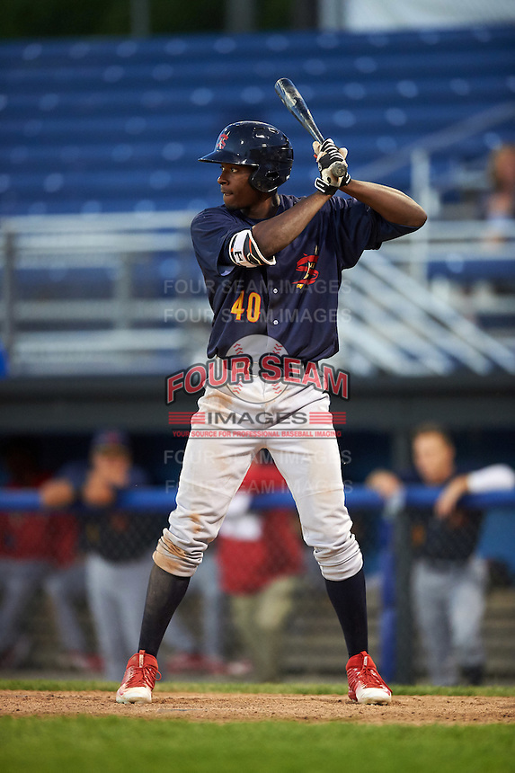 State College Spikes left fielder Vincent Jackson (40) at bat during a game against the Batavia Muckdogs on June 23, 2016 at Dwyer Stadium in Batavia, New York.  State College defeated Batavia 8-4.  (Mike Janes/Four Seam Images)