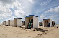 Nederland Katwijk  2016.  Cabines op het strand.   Foto Berlinda van Dam / Hollandse Hoogte