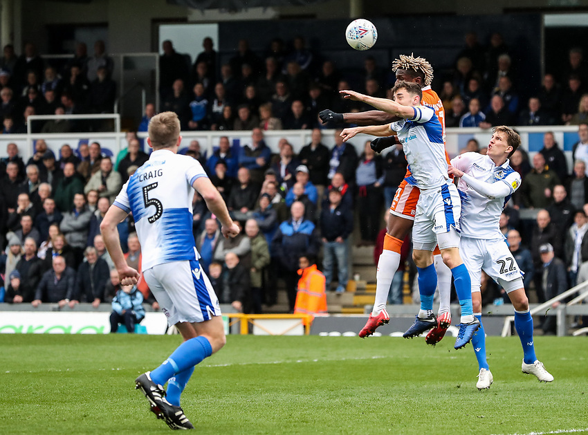 Blackpool's Armand Gnanduillet competing with Bristol Rovers' Tom Lockyer in the air<br /> <br /> Photographer Andrew Kearns/CameraSport<br /> <br /> The EFL Sky Bet League Two - Bristol Rovers v Blackpool - Saturday 2nd March 2019 - Memorial Stadium - Bristol<br /> <br /> World Copyright © 2019 CameraSport. All rights reserved. 43 Linden Ave. Countesthorpe. Leicester. England. LE8 5PG - Tel: +44 (0) 116 277 4147 - admin@camerasport.com - www.camerasport.com